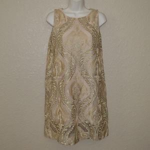 Sz S Analili Gold Texutured Shift Sleeveless Dress